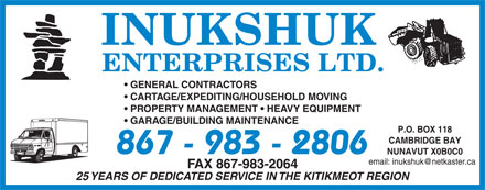 Inukshuk Enterprises Ltd (867-983-2806) - Annonce illustrée