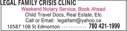 Legal Family Crisis Clinic (780-421-1999) - Display Ad