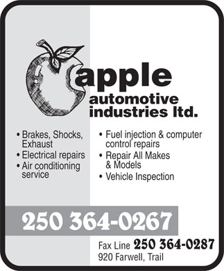 Apple Automotive Industries Ltd (250-364-0267) - Display Ad