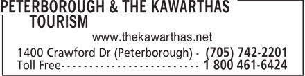 Peterborough & The Kawarthas Tourism (705-742-2201) - Annonce illustrée - www.thekawarthas.net www.thekawarthas.net
