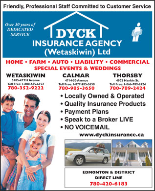 Dyck Insurance Agency (Wetaskiwin) Ltd (780-312-2949) - Display Ad