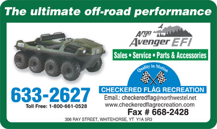 Argo All Terrain Vehicles (867-633-2627) - Display Ad - www.checkeredflagrecreation.com www.checkeredflagrecreation.com