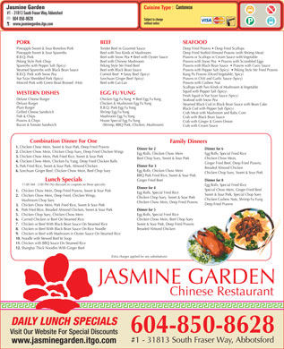 Jasmine Garden Restaurant (604-557-7588) - Menu