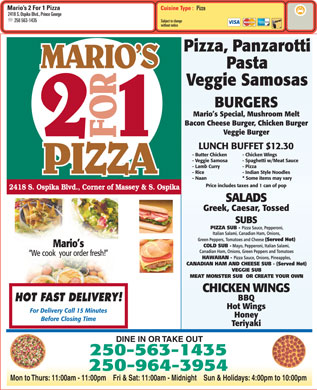 Mario's 2 For 1 Pizza & Chicken (250-645-0340) - Menu