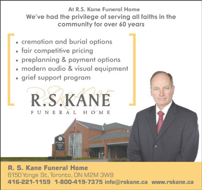 Kane Funeral Home Ltd (416-221-1159) - Display Ad