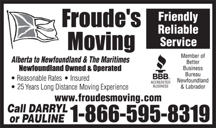 Froude's Moving (1-866-895-2292) - Annonce illustrée - www.froudesmoving.com