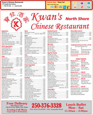 Kwan's Chinese Restaurant (250-376-3328) - Menu