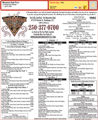 Mountain High Pizza (250-377-0700) - Menu