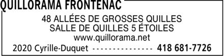 Quillorama Frontenac (418-681-7726) - Display Ad