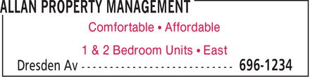 Allan Property Management (506-696-1234) - Display Ad - Comfortable ¿ Affordable 1 & 2 Bedroom Units ¿ East Comfortable ¿ Affordable 1 & 2 Bedroom Units ¿ East