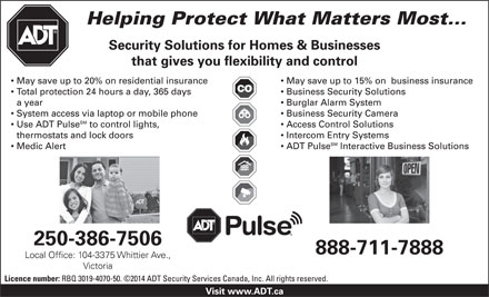 ADT Security Services Canada Inc (250-386-7506) - Annonce illustrée