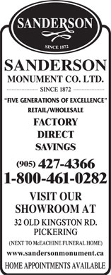 Sanderson Monument Company Limited (905-427-4366) - Display Ad