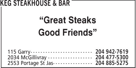 Keg Steakhouse &amp; Bar (204-885-5275) - Display Ad - &ldquo;Great Steaks Good Friends&rdquo;