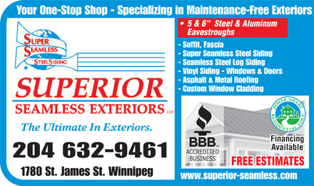 Superior Seamless Exteriors Ltd (204-632-9461) - Annonce illustrée