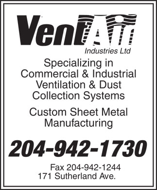 Vent-Air Industries Ltd (204-942-1730) - Annonce illustr&eacute;e
