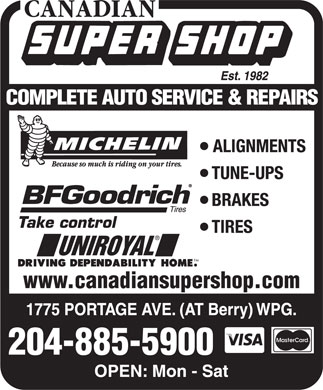 Canadian Super Shop Inc (204-885-5900) - Annonce illustrée - www.canadiansupershop.com 204-885-5900 www.canadiansupershop.com 204-885-5900