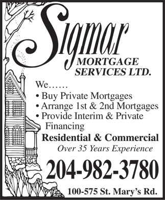 Sigmar Mortgage Services Ltd (204-982-3780) - Annonce illustrée