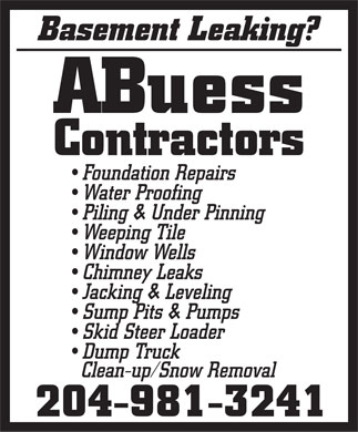 ABuess Contractors (204-981-3241) - Display Ad