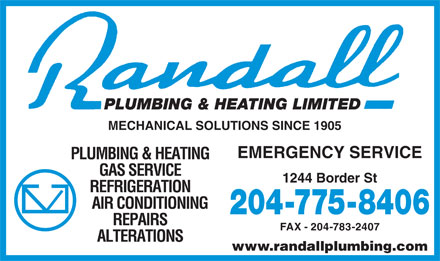 Randall Plumbing & Heating Ltd (204-775-8406) - Annonce illustrée