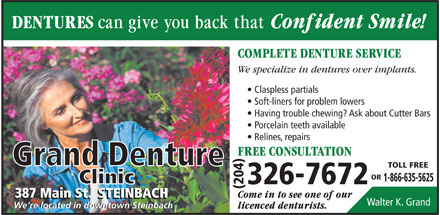 Grand Denture Clinic (204-326-7672) - Display Ad