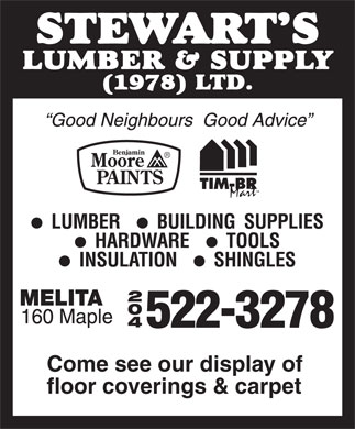Stewart's Lumber And Supply (1978) Ltd (204-522-3278) - Display Ad - 2 0 4 Come see our display of floor coverings & carpet