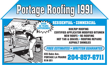 Portage Roofing 1991 (204-857-6711) - Annonce illustr&eacute;e