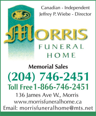 Morris Funeral Home (204-746-2451) - Display Ad