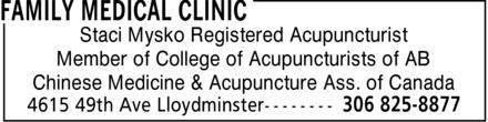 Family Medical Clinic (306-825-8877) - Display Ad - Staci Mysko Registered Acupuncturist Member of College of Acupuncturists of AB Chinese Medicine & Acupuncture Ass. of Canada