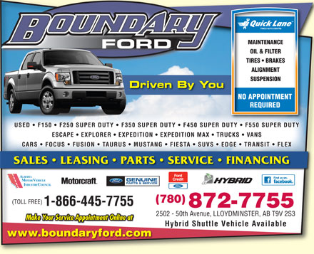 Boundary Ford Sales Ltd (780-872-7755) - Display Ad