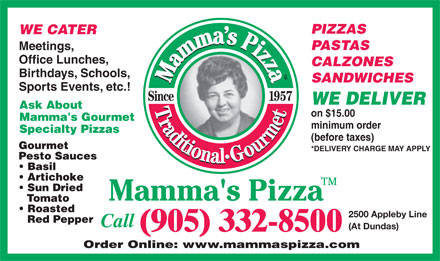 Mamma's Pizza (905-332-8500) - Annonce illustr&eacute;e