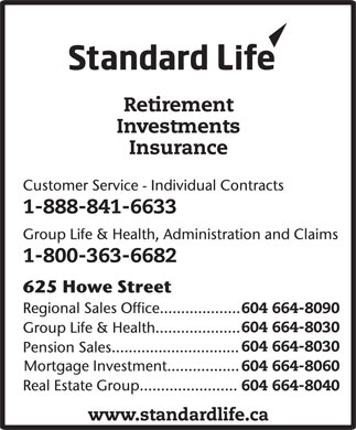 Standard Life (604-664-8090) - Display Ad