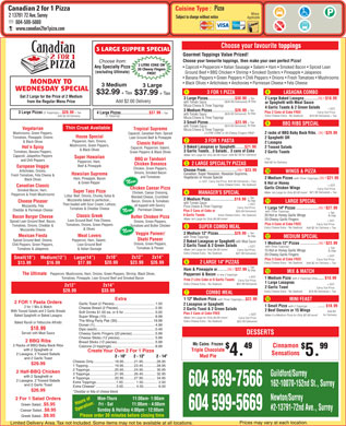 Canadian 2 For 1 Pizza (604-599-5669) - Menu