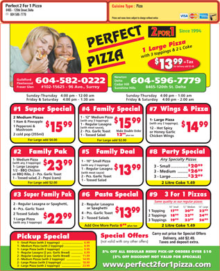 Perfect 2 For 1 Pizza (604-598-4430) - Menu