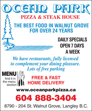 Ocean Park Pizza &amp; Steak House (604-888-3404) - Annonce illustr&eacute;e