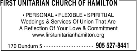 First Unitarian Church Of Hamilton (905-527-8441) - Display Ad - &iquest; PERSONAL &iquest; FLEXIBLE &iquest; SPIRITUAL Weddings &amp; Services Of Union That Are A Reflection Of Your Love &amp; Commitment www.firstunitarianhamilton.org