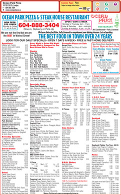 Ocean Park Pizza & Steak House (604-888-3404) - Menu