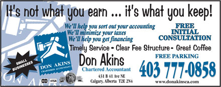 Don Akins Chartered Accountant (403-777-0858) - Annonce illustr&eacute;e - FREE INITIAL CONSULTATION 403 777-0858 403 777-0858 431 B 41 Ave NE Calgary, Alberta  T2E 2N4  FREE INITIAL CONSULTATION 403 777-0858 403 777-0858 431 B 41 Ave NE Calgary, Alberta  T2E 2N4  FREE INITIAL CONSULTATION 403 777-0858 403 777-0858 431 B 41 Ave NE Calgary, Alberta  T2E 2N4