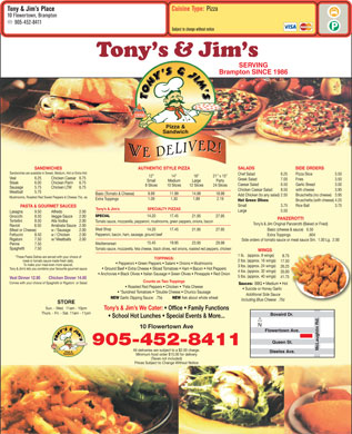 Tony &amp; Jim's Place (905-452-8411) - Menu