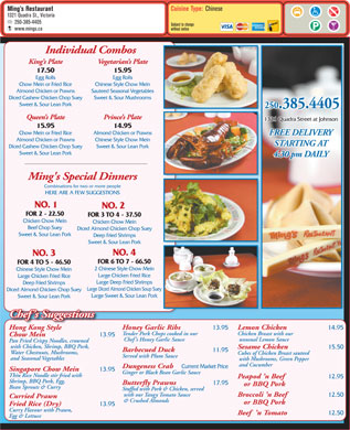 Ming's Restaurant (250-385-4405) - Menu