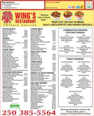 Wing's Restaurant (250-385-5564) - Menu
