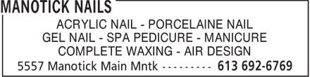 Manotick Nails (613-692-6769) - Annonce illustrée======= - MANOTICK NAILS - MANICURE - SPA PEDICURE - ACRYLIC NAIL - GEL NAIL - NAIL AIR DESIGN - WAXING