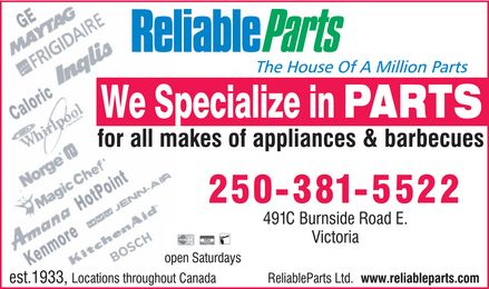 Reliable Parts Ltd (250-381-5522) - Display Ad