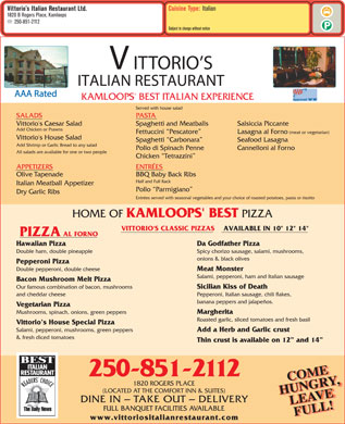 Vittorio's Italian Restaurant Ltd (250-571-1570) - Menu