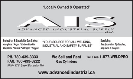 Advanced Industrial Supply Ltd (780-439-3333) - Annonce illustrée