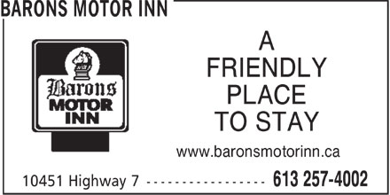 Barons Motor Inn (613-257-4002) - Display Ad