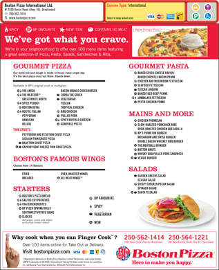 Boston Pizza (250-564-1221) - Menu