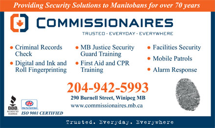 Commissionaires Manitoba (204-942-5993) - Annonce illustr&eacute;e