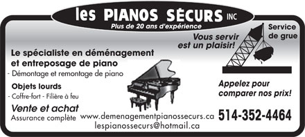 Pianos Securs (Les) (514-357-0253) - Annonce illustr&eacute;e