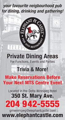 The Elephant And Castle (204-942-5555) - Display Ad
