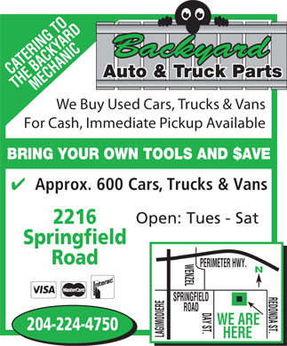 Backyard Auto & Truck Parts (204-224-4750) - Annonce illustrée